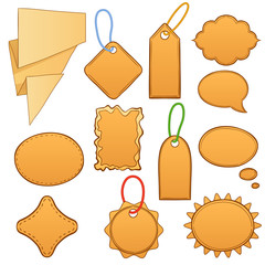 Set cartoon label tags isolated on white