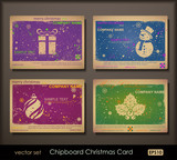Collection of colorful chipboard Christmas cards. poster