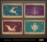 Collection of vintage chipboard Christmas cards. poster