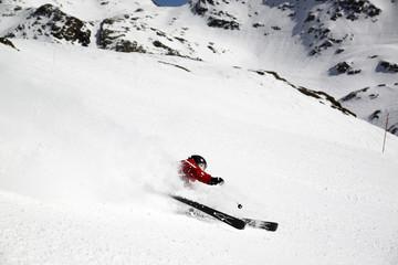 Skier falling down