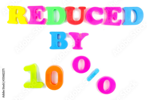 10% reduced written on fridge magnets