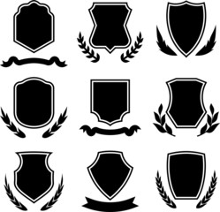 Vector vintage shields, ribbons and wreaths