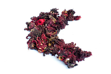 Hibiscus sabdariffa or dried roselle fruits