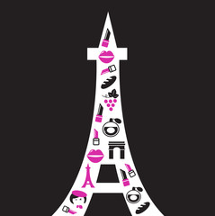 Retro Paris Eiffel Tower silhouette - isolated on black..