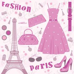 Paris fashion set. vector, no gradient