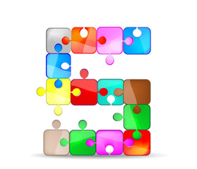 Letter S with colorful puzzle