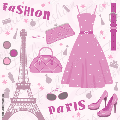 Paris fashion set. vector, no gradient