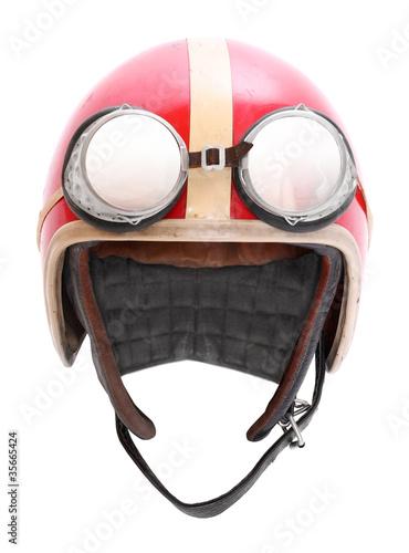 Foto op Plexiglas Motorsport Retro helmet with goggles on a white background.