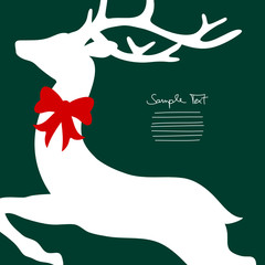 Xmas Card Flying Reindeer Cropped With Red Bow