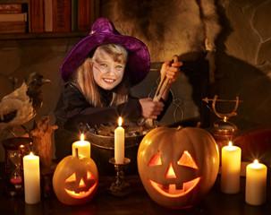 Witch  with pumpkin lantern.