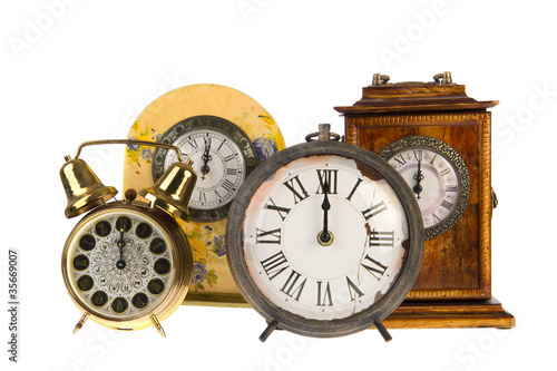 Vintage clocks at twelve