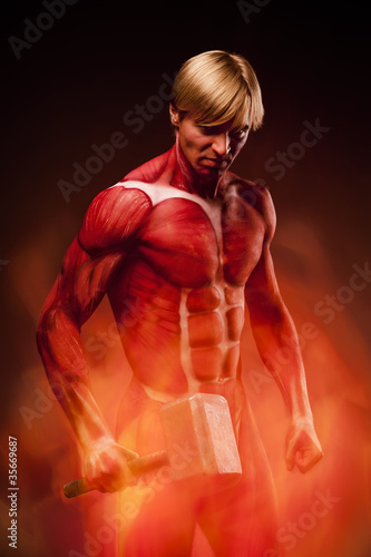 Fine art portrait of angry muscular man