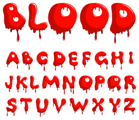 Vector blood alphabet is isolated on a white background