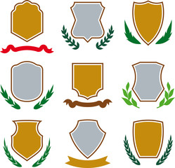 Shields, ribbons and laurel wreaths