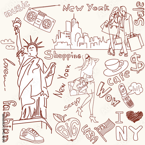 Foto op Canvas Doodle shopping in new york doodles
