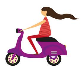 girl over motorbike