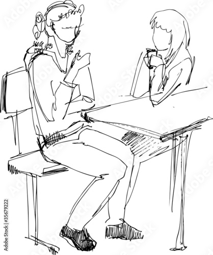 girl-friends on a bench