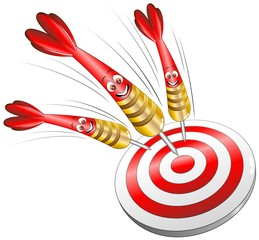 Bersaglio Freccette Sport Cartoon-Target Success Concept-Vector