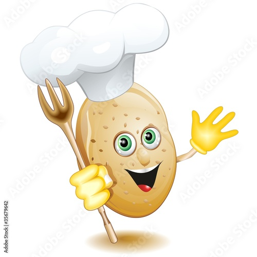Patata Cuoco Fumetto Cartoon-Potato Cook Comics-Vector