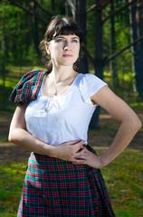 Woman in scottish costume