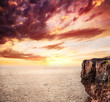 background of ocean, cliff and sunset