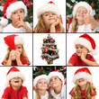Expressions of kids having fun at christmas time