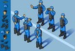 isometric set of military peacekeepers standing