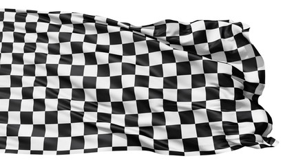 Realistic seamless looping checkered flag waving in the wind.