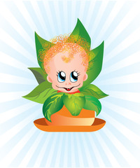 Curly kid in a flower pot
