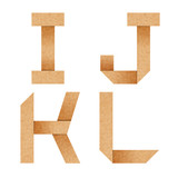 I,J,K,L Origami alphabet letters from recycled paper with clippi