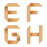 E,F,G,H Origami alphabet letters from recycled paper with clippi