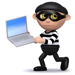 3d Burglar runs off with your laptop!