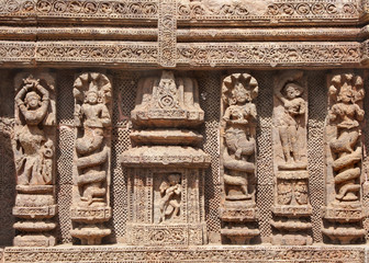 Beautifully carved snake hooded women and lady dancers
