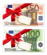 Geldscheine mit Schleife und Label