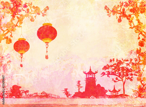 old paper with Asian Landscape and Chinese Lanterns