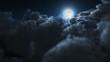 Night flight over clouds