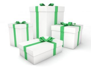 3d Rendering Geschenke weiß grün
