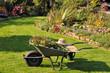 Spätsommerlicher Garten mit Schubkarre und Grünschnitt