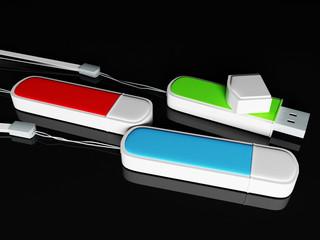 three multi-colored flashes