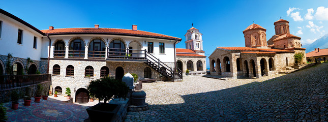 Panorama of the inner cloister of Saint Naum monastery