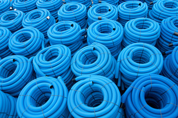 Blue drainage pipes