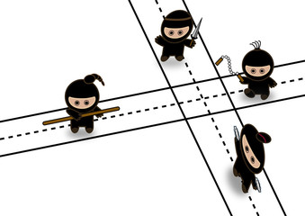 Abstract ninjas fighting on crossroad