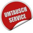 Sticker rot rund curl unten UMTAUSCH SERVICE