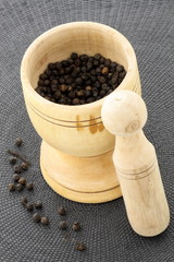 mortar and black pepper