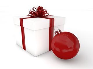 3d Rendering Geschenk mit Christbaumkugel