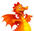 vector cute cartoon dragon isolated on white