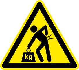 Warnschild Warnzeichen Hohes Gewicht Schwere Last