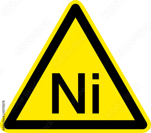 Warnschild Warnzeichen Ni Nickel Allergie Nickeldermatitis