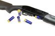 Shotgun rifle partial with some shells on white