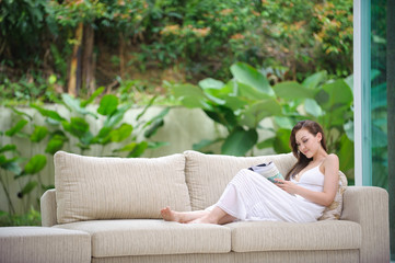 Attractive woman reading